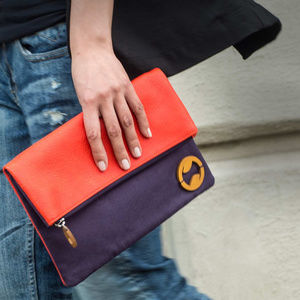 Canopy Verde Carroll Clutch - indigo/orange red